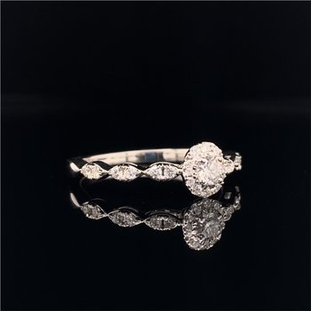 Petite Diamond Engagement Ring in White Gold