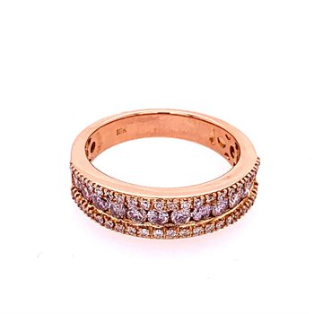 Light Pink Diamond Band in 18k Rose Gold