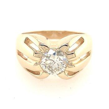 1.46 Carat Old European Cut Diamond in Yellow Gold