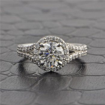 GIA 1.02 ct, Round Brilliant Cut Diamond Halo Engagement Ring in Platinum