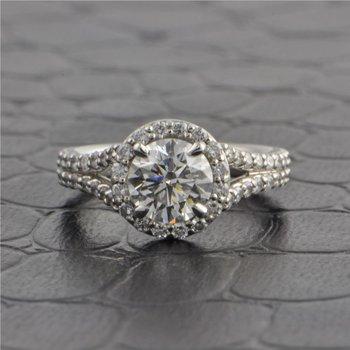 GIA 1.02 ct, Round Brilliant Cut Diamond Halo Engagement Ring in Platinum
