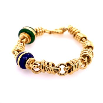 Blue and Green Enamel Spacer Bracelet in 18k Yellow Gold