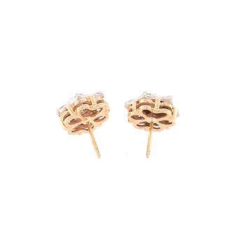 Diamond Cluster Studs in Two Tone Gold