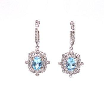 Effy Aquamarine Dangle Earrings in White Gold