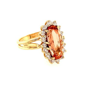 Imperial Topaz and Diamond Ring in Yellow Gold