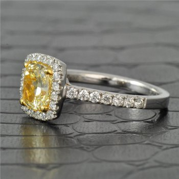 1.40 Carat Fancy Yellow Cushion Cut Diamond Engagement Ring in White Gold