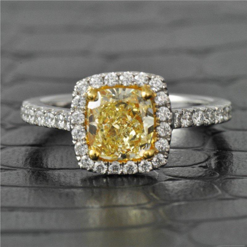 Kattan 1.40 Carat Fancy Yellow Cushion Cut Diamond Engagement Ring in White Gold