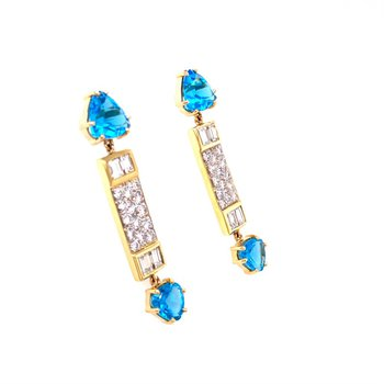 Blue Topaz and Diamond Linear Dangle Earrings in Two-Tone Gold