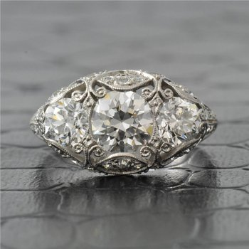 Edwardian Platinum Engagement Ring with 1.0 Carat Old European Cut Diamond