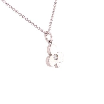 Hearts On Fire Clover Necklace in White Gold