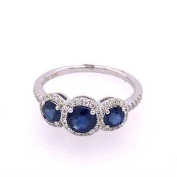 Three Stone Sapphire and Diamond Ring in White Gold