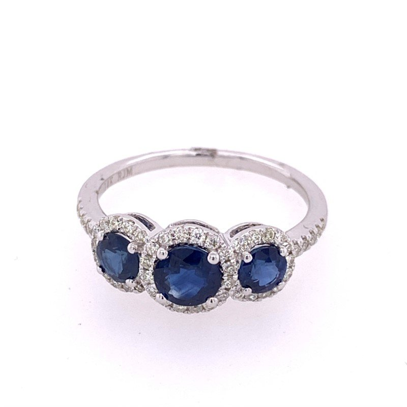 Royal Jewelry Three Stone Sapphire and Diamond Ring in White Gold