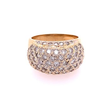 Multi Row Diamond Cluster Ring in Yellow Gold