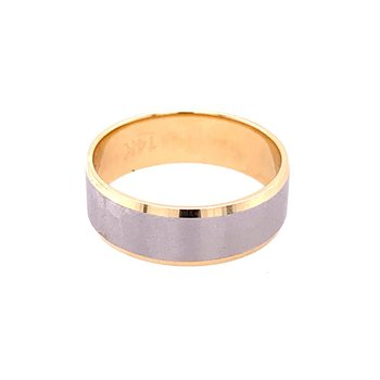 14k White and Yellow Gold Wedding Band Size 10