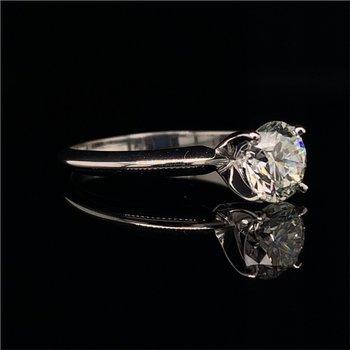 GIA 1.04 Carat Round Brilliant Cut Diamond Engagement Ring