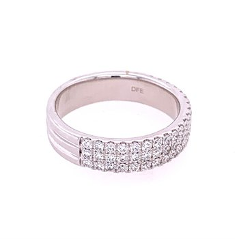Triple Row Diamond Band in White Gold