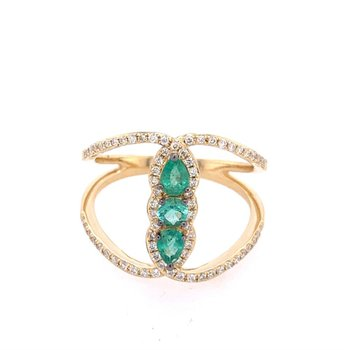 Open Work Emerald and Diamond Ring in Yellow Gold