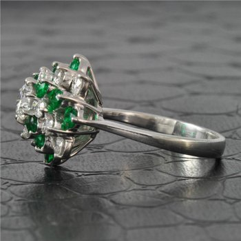 Emerald and Diamond Cluster Style Ring in Platinum