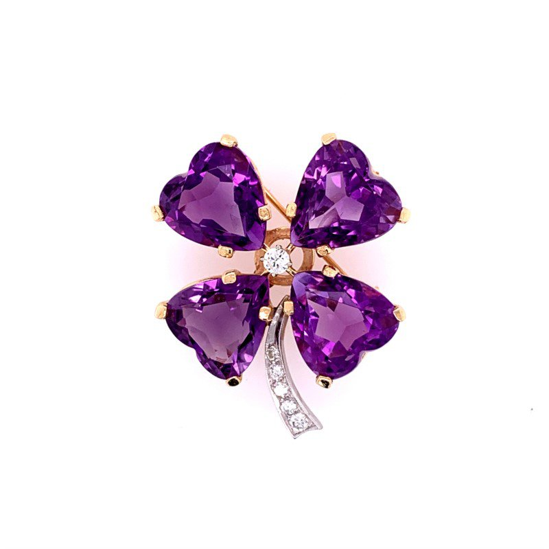 Perry's Estate Collection Vintage 1950s-60s Amethyst and Diamond Four Leaf Clover Pin in Yellow Gold