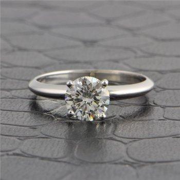 GIA 1.0 Carat Round Brilliant Cut Diamond Engagement Ring in White Gold