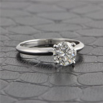 GIA 1.0 Carat Round Brilliant Cut Diamond Engagement Ring in White Gold