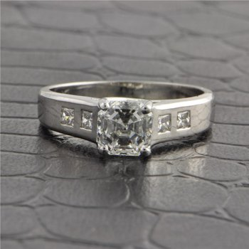 GIA 1.25 Carat I-VS1 Asscher Cut Diamond Engagement Ring in Platinum