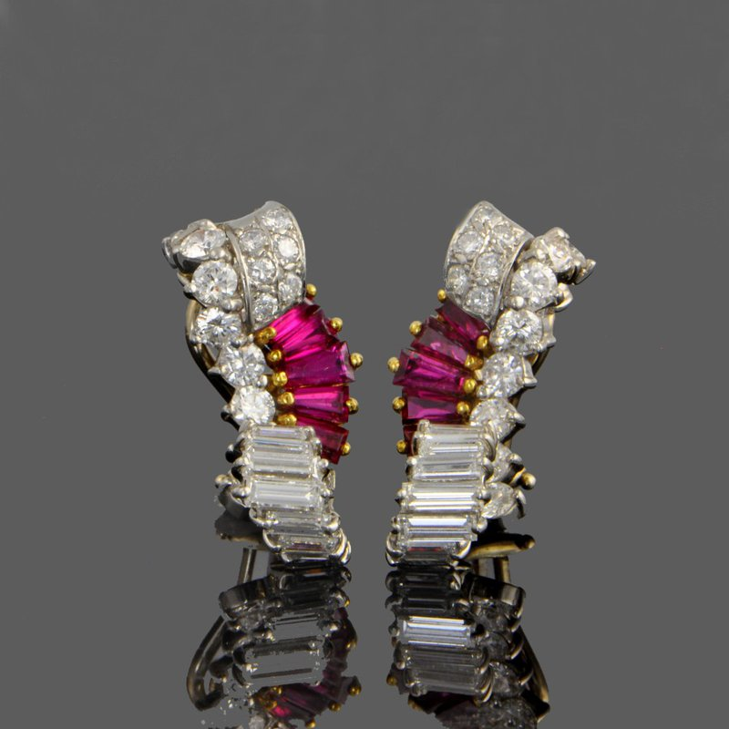 Perry's Estate Collection Ruby and Diamond Ear Clips