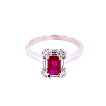Ruby and Diamond Ring in White Gold