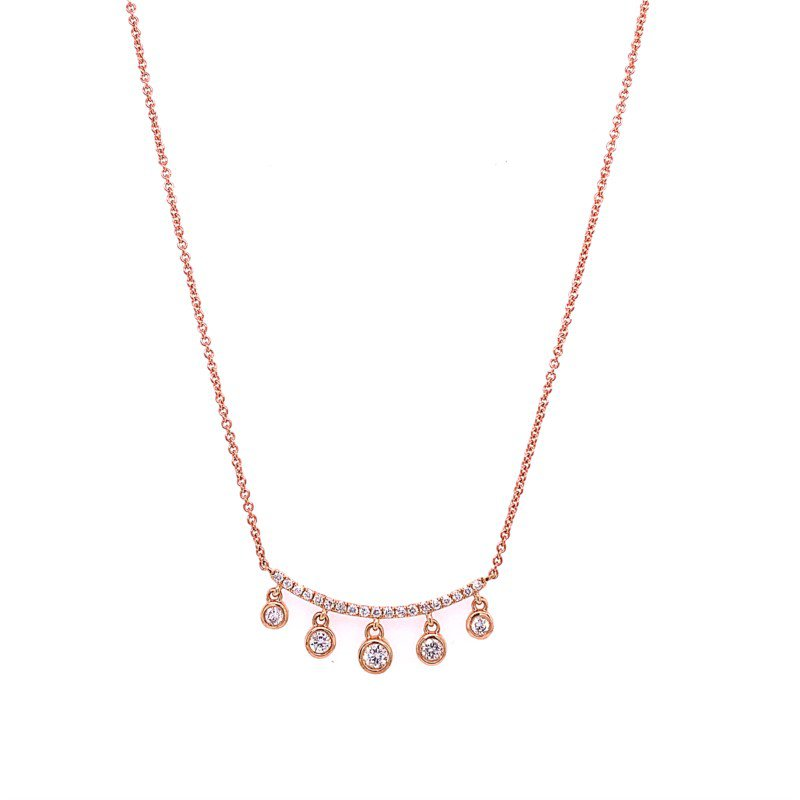 Royal Jewelry Diamond Dangle Necklace in Rose Gold