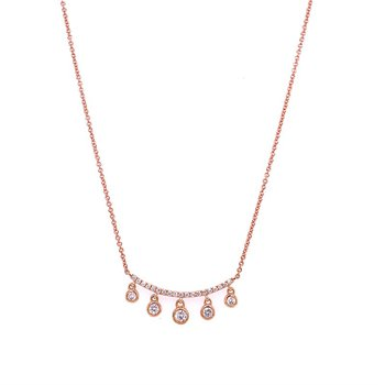 Diamond Dangle Necklace in Rose Gold