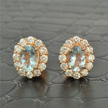 Aquamarine and Diamond Halo Style Earrings in Rose Gold