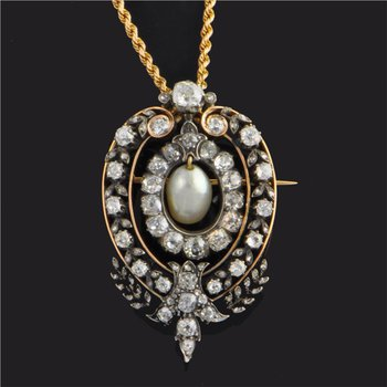 Two Tone Antique Edwardian Diamond and Natural Pearl Brooch / Pendant