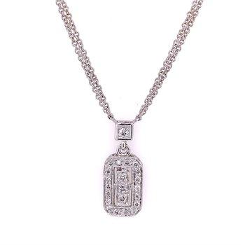 "16"" Rectangular Shaped Diamond Pendant Necklace in White Gold"
