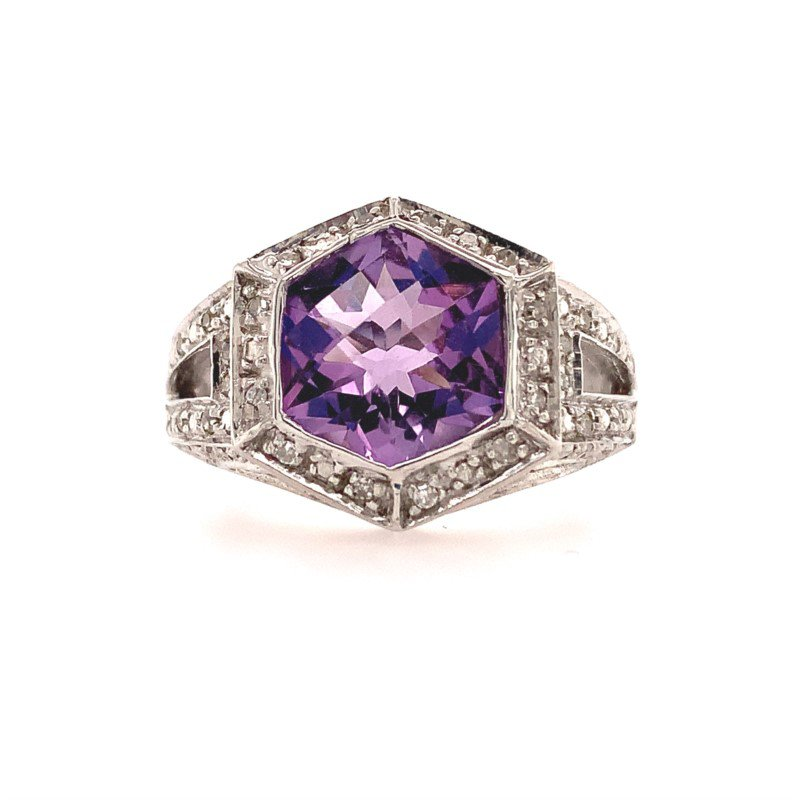 Perry's Estate Collection Amethyst and Diamond Ring in White Gold