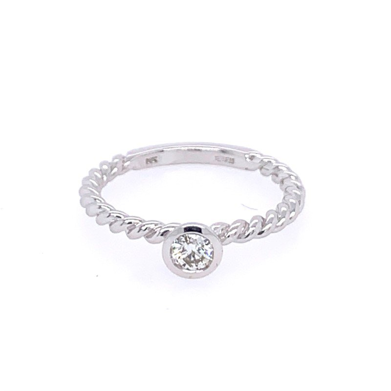 Effy Rope Style Diamond Ring in White Gold