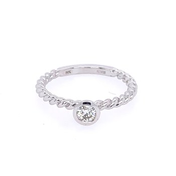 Rope Style Diamond Ring in White Gold