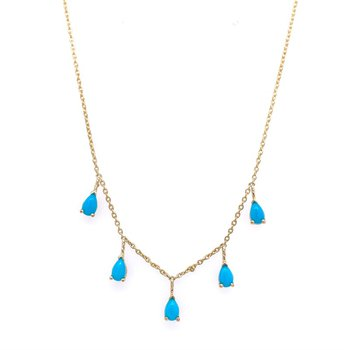 Turquoise Dangle Necklace in Yellow Gold