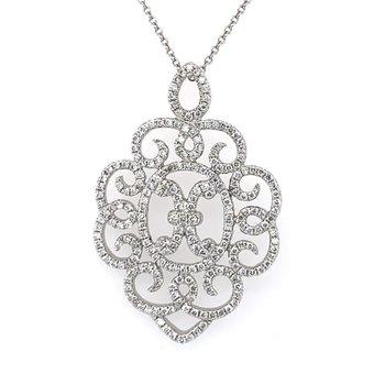 Open Work Curving Diamond Pendant