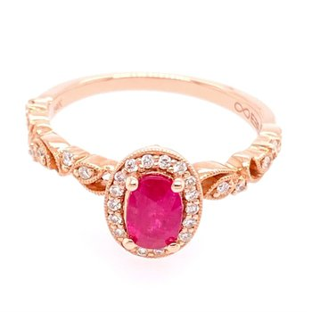 Ruby and Diamond Ring in Rose Gold