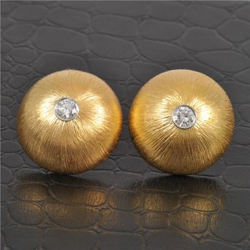 Textured Diamond Dome Clip Earrings in Yellow Gold and Platinum