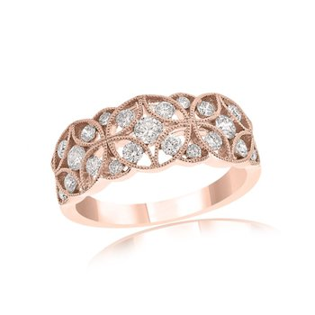 Open Work Diamond Band in Rose Gold