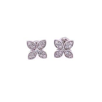 Diamond Flower Stud Earrings in White Gold
