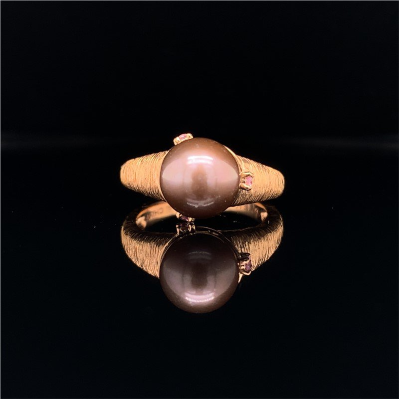 Perry's Estate Collection 8.7 MM Black Pearl and Morganite Ring in Rose Gold