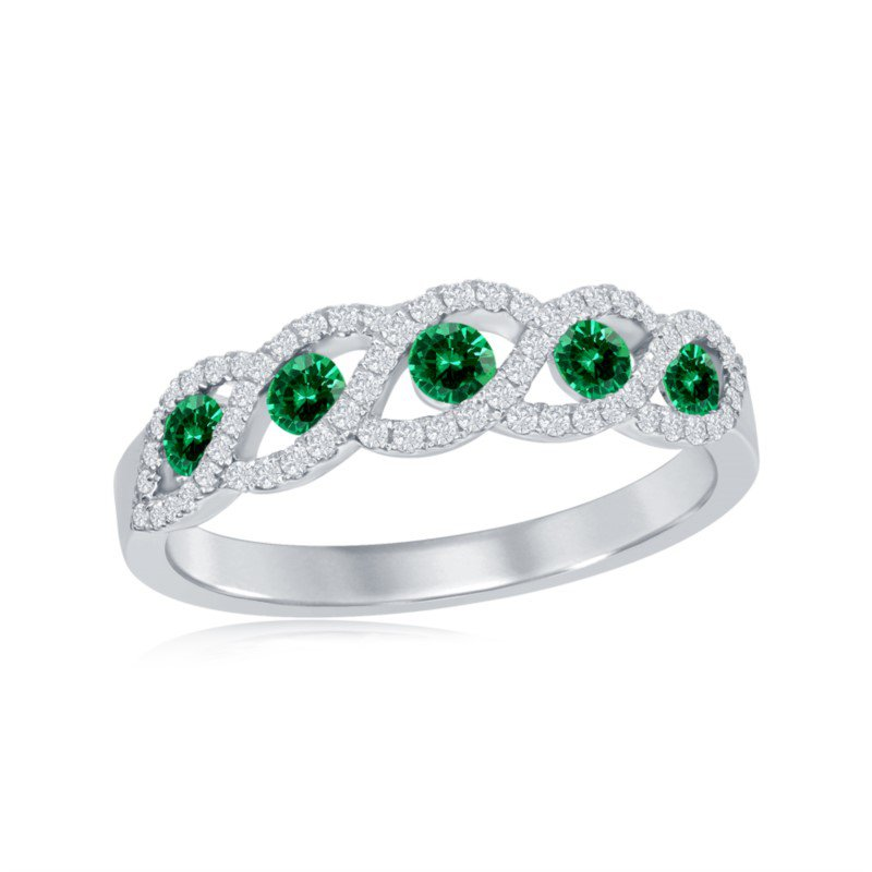 Jewels By Jacob Emerald and Diamond Ring in 18k White Gold