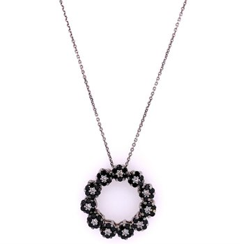 Black and White Diamond Circle Pendant in 18k White Gold