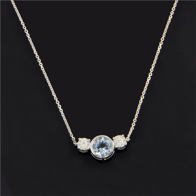 Ryan Gems Aquamarine and Diamond Necklace in White Gold