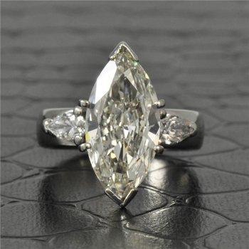 GIA 4.02 Carat Marquise Cut Diamond Engagement Ring in Platinum