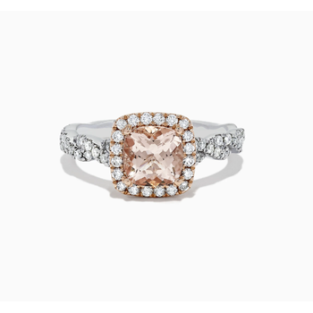 Morganite and Diamond Ring in Two Tone Gold