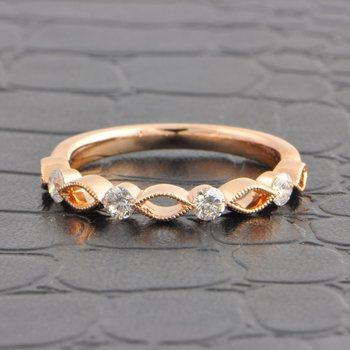 Openwork Criss-Cross Style Wedding Band in Rose Gold