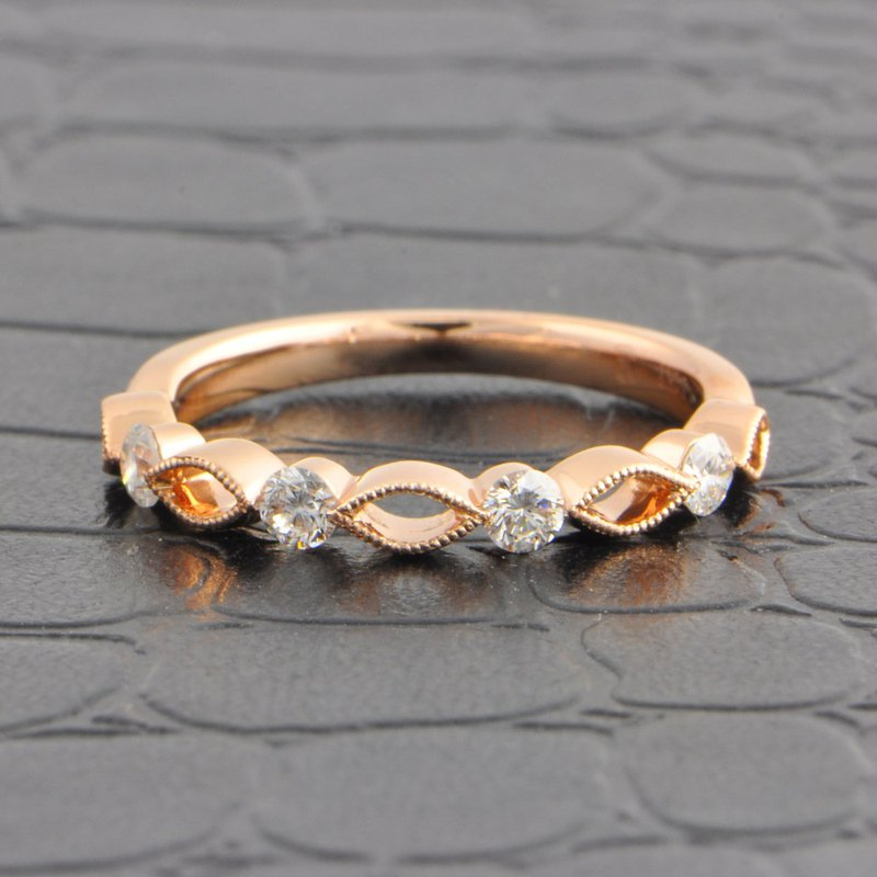 Pejay Creations Openwork Criss-Cross Style Wedding Band in Rose Gold